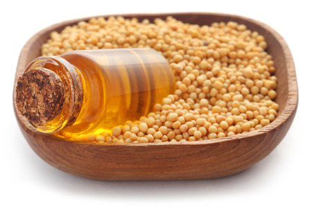 Golden Mustard with oil in a bottle Banque d'images