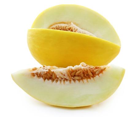 Brilliant honeydew melon over white background Standard-Bild