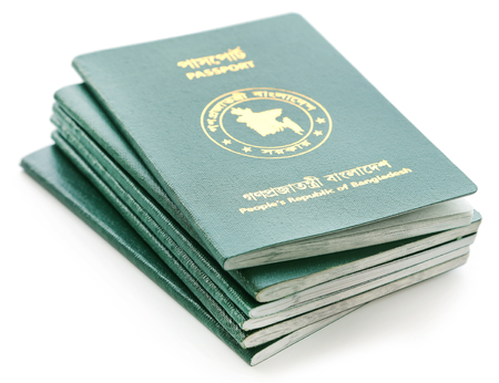 Passports of Bangladesh over white background