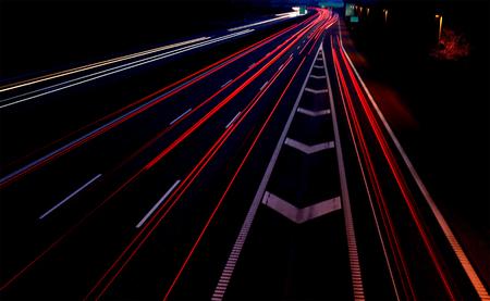 Long exposure of traffic car lights in the motorway of Copenhagen Denmark
