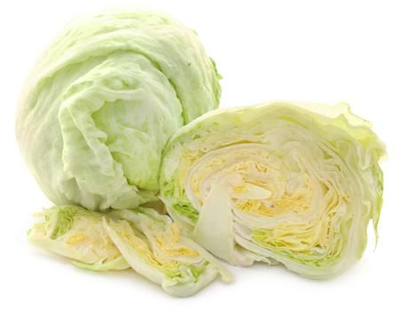 Iceberg lettuce sliced and whole over white 版權商用圖片