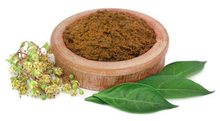 Ayurvedic henna leaves and flower with mashed herbs over white background