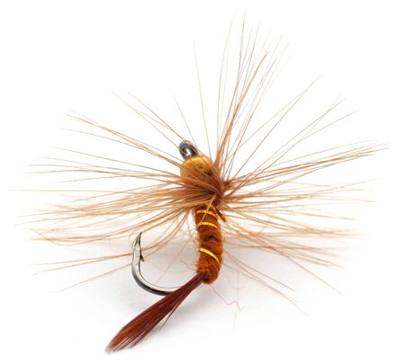 Hand made fishing fly with hook over white background