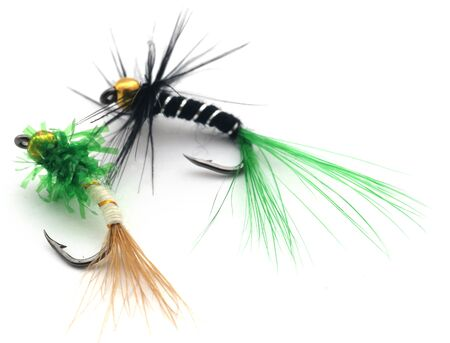 Fishing flies of diffrent colors with hooks over white background