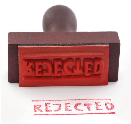 Rejected rubber stamp with pad over white Banque d'images