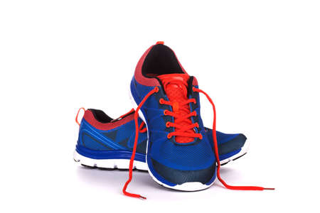 chaussure: Unbranded chaussure de course, baskets ou formateur isolé sur blanc Banque d'images