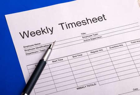 Weekly Timesheet Form Stock Photo