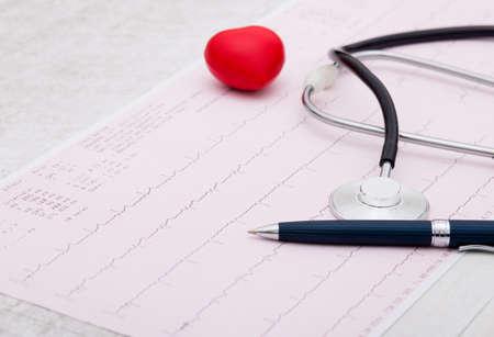 cardiogram: Stethoscope and cardiogram