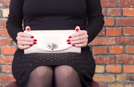 clutch: Fashion young woman with bag clutch in hands  Stock Photo