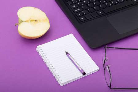 keyboard: Time for Break. Eat Apple Stock Photo
