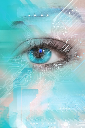 futuristic eye: High-tech technology background