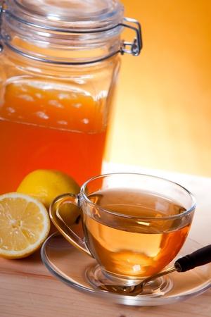 Cup of herbal tea and lemon