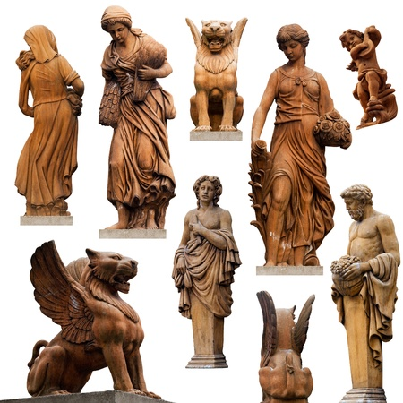 roman: Collection of statues isolated on white background