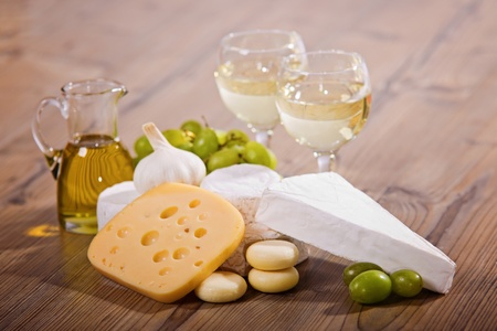 White wine and cheese composition  Stock Photo