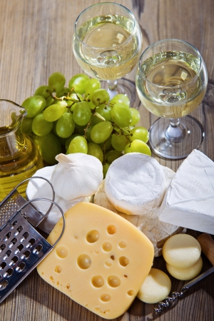 White wine and cheese composition  photo