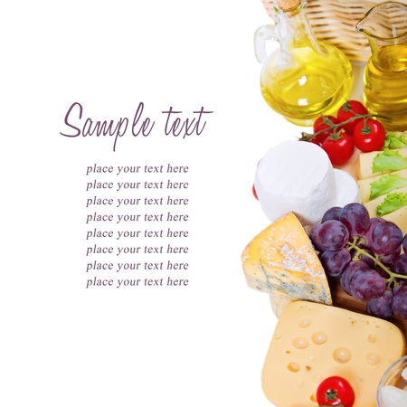 Oil,tomato and cheese composition isolated on white background
