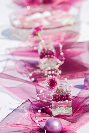 Table decoration for a summer garden party  photo