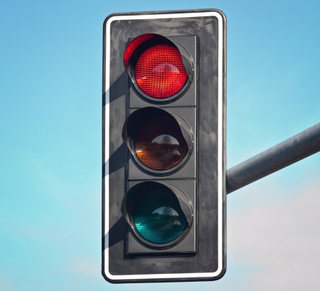 stop and go light: Red color on the traffic light