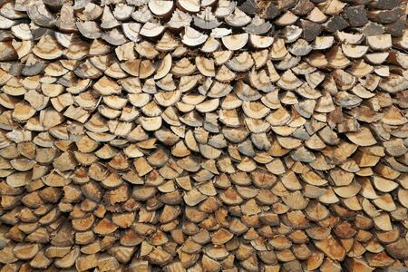 brownness: Stack of firewood Stock Photo