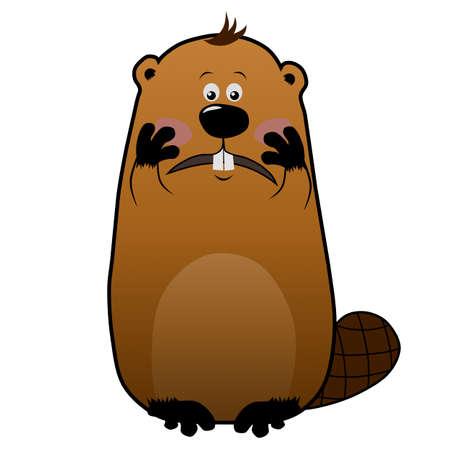 Embarassed cartoon beaver on white background, emotions Фото со стока