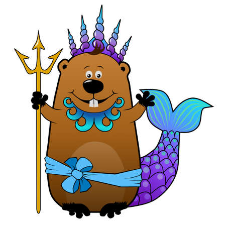 king neptune: Funny cartoon beaver in Neptune Poseidon carnival costume Stock Photo