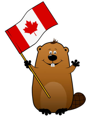 canadian flag: Funny joyful cartoon beaver with Canadian flag
