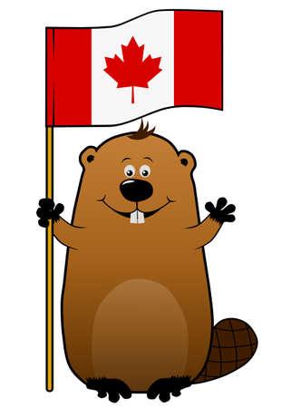 Funny joyful cartoon beaver with Canadian flag