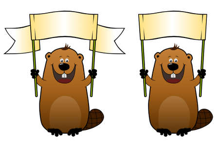 Funny cartoon beaver with a blank gradient billboard in his hands