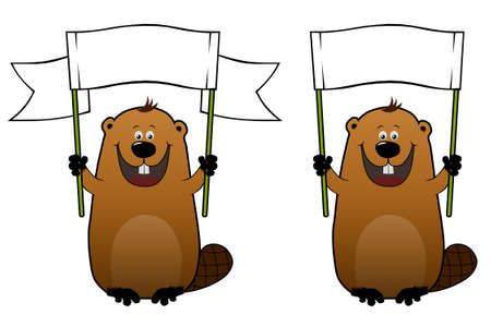 Funny cartoon beaver with blank white billboard in his hands