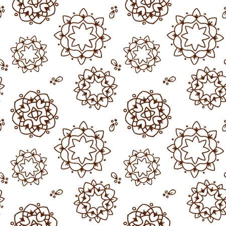 Ethnic brown mandala or snowflakes seamless pattern