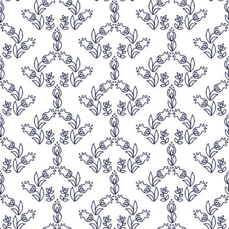 Ethnic floral seamless pattern on white background Ilustração