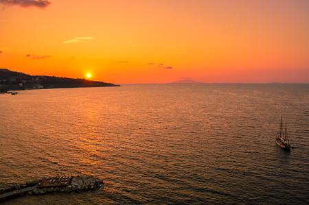 Stunning sunset over the beautiful Sorrento, Italy