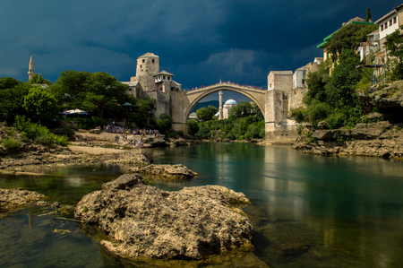 Stunning view of the beautiful Old Bridge in Mostar, Bosnia and Herzegovina Stock Photo