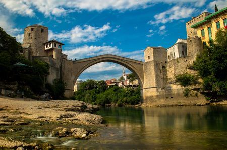 Stunning view of the beautiful Old Bridge in Mostar, Bosnia and Herzegovina Stock Photo