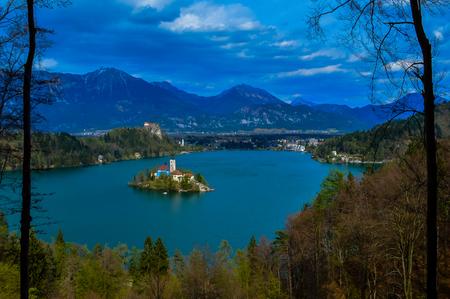 Stunning view of beautiful Lake Bled, Slovenia