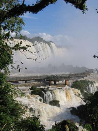 across america: Walkway across the Iguassu Falls, Brazil  Argentina, South America Stock Photo
