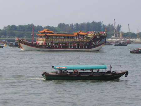 southeast asia: Boats on the River in Singapore, Southeast Asia