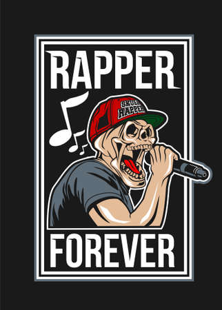 Skull rapper vector illustration for t shirt design
