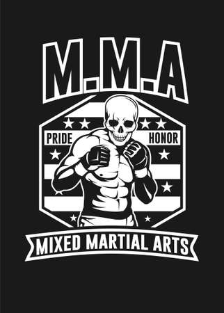 Skull MMA black and white vector illustration for t shirt design