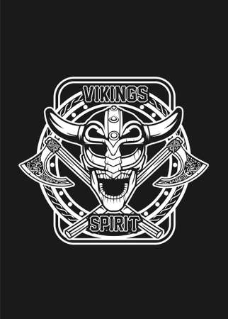 Skull viking black and white vector illustration for t shirt