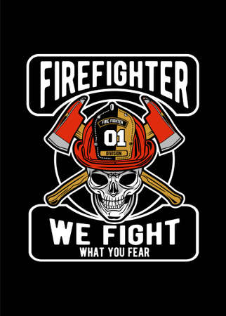 Vector illustration of skull firefighter for t shirt design