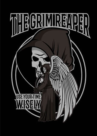 Vector illustration of skull grim reaper for t shirt