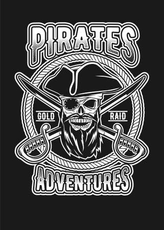 Skull pirates black and white vector illustration Ilustração