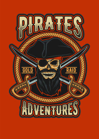 Skull pirate vector illustration for your t shirt design, posters, etc.