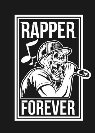 Skull rapper black and white vector illustration