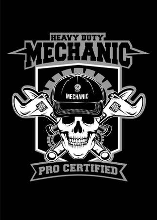 Skull mechanic vector illustration