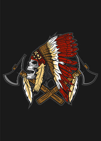 Skull indian native vector illustration