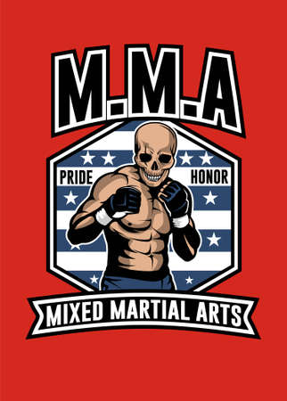 Vector illustration of skull MMA full color Ilustração