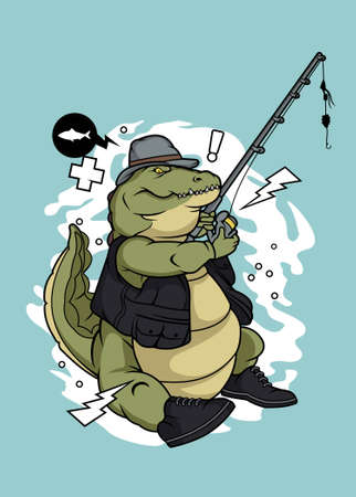 Fishing crocodile vector illustration for t shirt