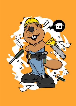 Bever the builder vector illustration for t shirt design